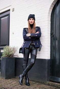 Dutch blogger Negin Mirsalehi styled Sandro black leather jacket with Karen Millen turtleneck, Zara leather trousers with zipper details and Stella McCartney ankle boots. #negin #leatherpants #zara