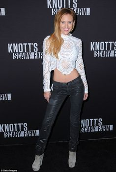 On show: Nicky Whelan flashed her toned midriff on Friday as she dressed in a crop top and jeans at the at Knott's Scary Farm in Buena Park