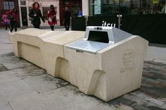 Self-cleaning and litter free concrete bench designed and manufactured by Factory Furniture  for the Camden Borough Council - at the Great Queen Street. http://factoryfurniture.co.uk/index/projects/great-queen-street-camden-factory-furniture-bespoke.html