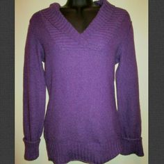 Purple V-Neck Sweater Gently worn but still in great condition - no holes, stains or rips. Cotton blend. Comes from a smoke free home.  No trades. No holds. Mossimo Supply Co Sweaters V-Necks