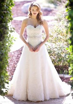 Kenneth Winston Lace and Embroidery A-line Sweetheart Wedding Dress with Swarovski beaded belt