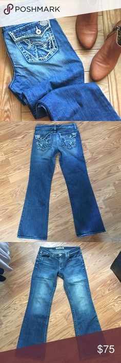 "Big Star maddie mid rise jeans Big Star maddie mid rise jeans. Size 31. Excellent used condition. Boot cut style. Back flap pockets with stitching accents. Approx 31"" inseam. Distressing throughout. Some wear on leg hems (pictured, pretty minor). Medium blue wash. 99% cotton, 1% spandex. Big Star Jeans Boot Cut"