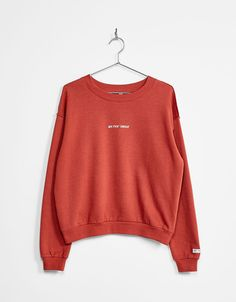 Embroidered text sweatshirt - Sweatshirts - Bershka Ukraine