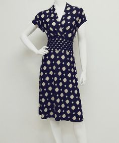 Another great find on #zulily! Navy & Beige Artistic Dot Surplice Dress #zulilyfinds