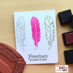 This card was created with Rubber Dance Stamps Textured Feathers stamp set and Distress inks.