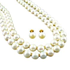 JPearls Double Line Fresh Water Pearl Necklace with a Pair of Pearl Ear Studs