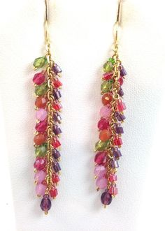"Long Red Pink Green Multi Drop Hook Earrings 2.5"" Long Beaded #LauraLeedscom #DropDangle"