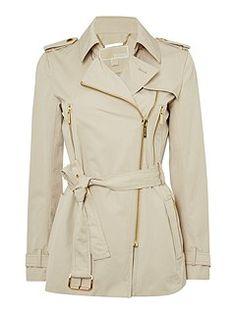 Zip Detail Trench Jacket