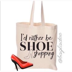 ✨ 2 for $20✨Graphic Shopper Totes 100% Cotton Off white. Canvas 14 1/2 x 15 1/2. The perfect tote for Grocery Shopping, Work,  Gym and of course shoe shopping👠NWOT Salt Lake Clothing Bags Totes