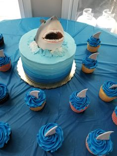 Shark themed birthday party. Boy First Birthday, 6th Birthday Parties, Women Birthday, Birthday Wishes, Shark Birthday Cakes, Boys 2nd Birthday Party Ideas, Themed Birthday Cakes, Circus Birthday, Birthday Nails