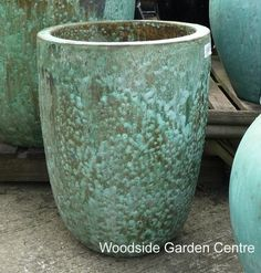 Large Tall Opal Green Glazed Pot Planters | Woodside Garden Centre | Pots to Inspire
