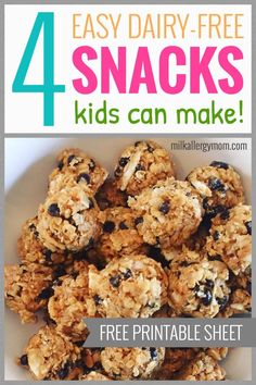Easy allergy-friendly snacks kids love, from toddlers to teens. Recipes at Milk Allergy Mom, enjoy! Healthy Breakfast Recipes, Healthy Eating, Meal Ideas, Food Ideas, Easy Snacks For Kids, Dairy Free Snacks, Milk Allergy, Kid Meals, Healthy School Lunches