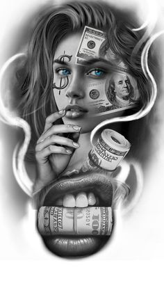 Chicanas Tattoo, Skull Girl Tattoo, Girl Face Tattoo, Money Tattoo, Girl Tattoos, Tattoos For Guys, Cool Forearm Tattoos, Body Art Tattoos, Hand Tattoos