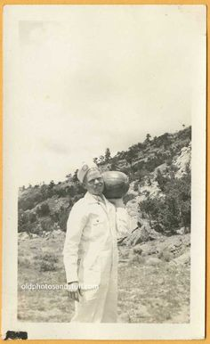 Vintage snapshot of  a guy carrying a watermelon. 1930's - For Sale -
