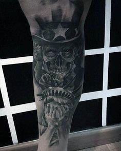 30 Uncle Sam Tattoo Designs For Men - American Ink Ideas Eagle Tattoos, Skull Tattoos, Girl Tattoos, New Tattoos, Tatoos, Military Sleeve Tattoo, Military Tattoos, Army Tattoos, Warrior Tattoos