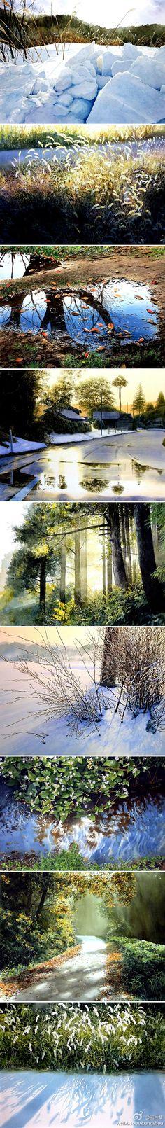 自然幽美的水彩风景。作者:日本画家安倍晋三俊。