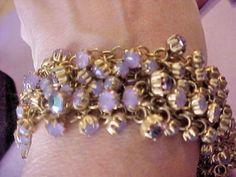 Purple opal glass vintage bracelet, gold metal bracelet, violet opal glass beaded bracelet, lavender bracelet, purple jewelry, woman gift by snapconclusions on Etsy