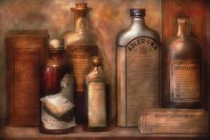 Got gas? Does you tum tum hurt? Perhaps I can introduce you to one of these miracle cures, sure to cure whatever problem ails ya. Play Image, Apothecary Bottles, Homeopathy, Wood Print, How To Introduce Yourself, Still Life, Really Cool Stuff, The Cure, Remedies