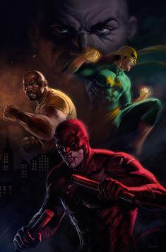 Daredevil, Luke Cage & Iron Fist - dleoblack.deviantart.com