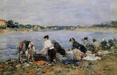 Eugène BOUDIN - Washerwomen on the banks of the River Touques   [Normandie, Deauville]