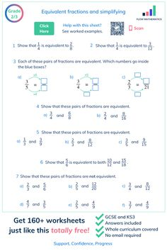 A comprehensive worksheet on equivalent fractions and simplifying. Click to get 160+ worksheets just like this totally free! #maths #education #learning #gcse #algebra #student #teacher #revision #study #mathsexam #gcserevision #mathematics #learning #tests #school Year 9 Maths Worksheets, Year 8 Maths, Multiplication And Division Worksheets, Learning Fractions, Teaching Math, Maths Exam, Math Boards, Kids Homework, Equivalent Fractions