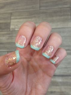 Creating the world's most amazing and luxury natural skincare line is not easy work.. a girls gotta treat herself! Gold Glitter and Mint Tips!  www.luvalla.com #Nails #NailArt #FrenchTips