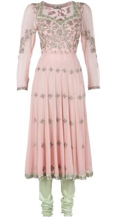 Light pink embroidered anarkali: Featuring a hand embroidered light pink georgette anarkali with a mint green satin embroidered patti around the neck and hem. It comes along with a mint green strech satin-lycra churidaar and a light pink embroidered dupatta - MANISH MALHOTRA