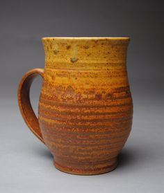 Clay Mug Beer Stein Red and Yellow by JohnMcCoyPottery on Etsy, $30.00 www.etsy.com/shop/JohnMccoyPottery
