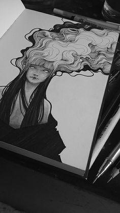 Aire. El peso de las ideas. Calentura/enojo. El humo de los pensamientos. Chica, mujer,joven, dibujo, blanco y negro