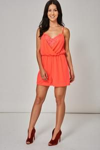 4b99b7c941a Floral Lace Cami Playsuit In Neon Pink Ex-Branded – Mahoganyfair