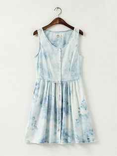 retro 90s light wash denim dress
