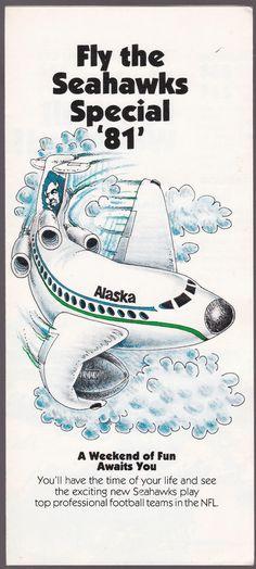 1981 SEATTLE SEAHAWKS ALASKA AIRLINES ADVERTISING BROCHURE AND SCHEDULE