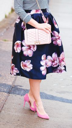 Pretty peach blossom midi skirt