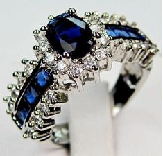 Blue Sapphire 10K White Gold Filled Ring size 8