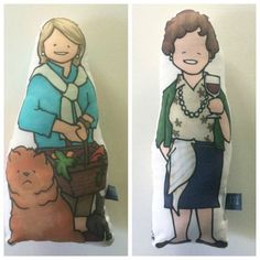 Pop culture icon handmade pillows on Etsy featuring Martha Stewart, Julia Child and more!