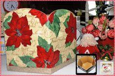 Caixa para Panetone Grande  Caixa de MDF decorada com guardanapo, verniz vitral vermelho e corda de sisal. Tamanho: 15 cm de altura e 22,5 cm de profundidade.  Disponibilidade: Pronta entrega