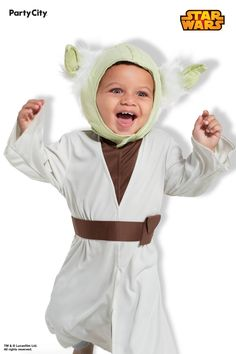 Become the most sought-after character in the Star Wars galaxy. (Not to mention the cutest!) Shop Party City for all the hottest Halloween costumes, like Baby Yoda, from The Mandalorian. Baby Yoda Costume, Cute Baby Costumes, Hot Halloween Costumes, Halloween Photos, Halloween Outfits, Halloween Stuff, Crazy Hat Day, Crazy Hats, Group Costumes