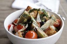 Brotsalat mit Artischocken und Oliven Potato Salad, Potatoes, Chicken, Meat, Ethnic Recipes, Artichokes, Olives, Cooking, Food Food