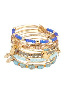 Set Of 9 Snail Charm & Blue Bead Bangles by Alex & Ani