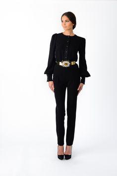 Combinaison en crêpe de soie noir et ceinture bijou - Stephane Rolland
