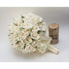 wedding bouquets, paper flower bouquet, bridal bouquet, bridesmaids... ($65) ❤ liked on Polyvore featuring home, home decor, floral decor, creme bouquet, cream bouquet, rose flower bouquet, flower stem and rose home decor