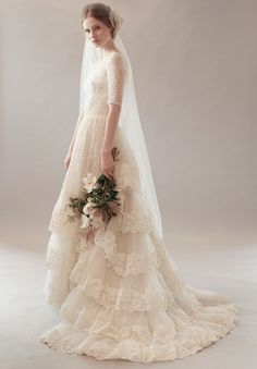 Shop affordable Vintage Jewel Neck Short Sleeve Lace Wedding Dress With Tiers at June Bridals! Over 8000 Chic wedding, bridesmaid, prom dresses & more are on hot sale. Modest Wedding Dresses, Bridal Dresses, Wedding Gowns, Event Dresses, Tulle Wedding, Dog Dresses, Wedding Veil, Dress Clothes, Bridal Fashion Week