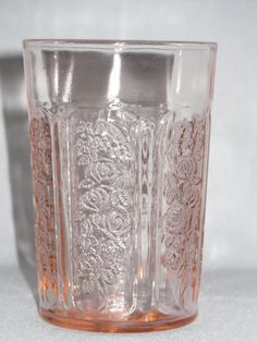 Pink depression glass tumbler