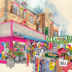 Walthamstow Market, Hennie Haworth Slush Puppy, London Art, Food Illustrations, Types Of Art, Marker, Cities, Buildings, Printing, Watercolor