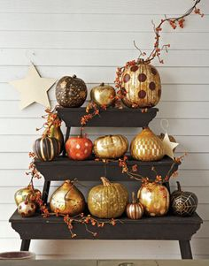 Pretty golden pumpkins on shelves outside via @Elizabeth Lockhart Lockhart Lockhart Cassinos Living Magazine