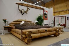 IN LOVE WITH THIS BED! This rustic style bed is a beautiful piece of log furniture. Hand-crafted, it is really a very unique piece. Rustic Log Furniture, Wood Furniture, Bedroom Furniture, Western Furniture, Furniture Plans, Furniture Design, Futuristic Bed, Rustic Bedding, Rustic Bedrooms