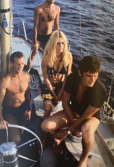 Miss Brigitte Bardot — Brigitte Bardot, Alain Delon, Eric Tabarly - 1968 Brigitte Bardot, Bridget Bardot, Alain Delon, Catherine Deneuve, Jane Fonda, Look Dark, Slim Aarons, Jane Birkin, Nautical Fashion