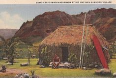 Inch Print - High quality prints (other products available) - David Kaapua (Kaapuawaokamehameha) in his one-man village, Hawaii, USA. Date: 1935 - Image supplied by Mary Evans Prints Online - Photograph printed in the USA Hawaii Usa, David, Hawaiian Islands, Vintage Postcards, Poster Size Prints, 5 D, Surfboard, Online Printing, Surfing