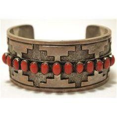 Vintage Old Pawn Navajo Coral Sterling Silver Cuff Bracelet