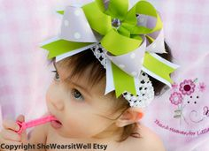 Hair Bow for Girls- Big Hair Bow, Purple and Green Large Hair Bow, Baby Hair Bow, Big Infant Hair Bow, on Etsy, $14.99